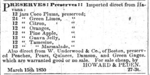 1850 Advertisement for Cocoplum preserves