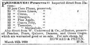 1850 Advertisement for Cocoplum preserves